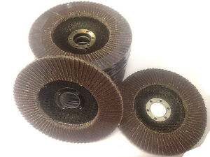 """10x 125 mm (5"""" )FLAP DISCS WHEELS 60 grit 4 ANGLE GRINDER... - (brand new)"""