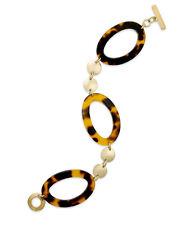 Ralph Lauren Gold Tone HIGHLAND Tortoise Resin Link Toggle Bracelet $68 NEW