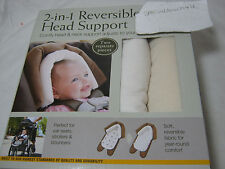 NEW Eddie Bauer Baby 2-in-1 Reversible Head Support ~ Ivory & Tan ~ 2 Pieces NIB