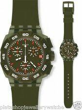 Swatch Watch SUIG401 Green Hero Date Plastic Gift New Original Chronograph