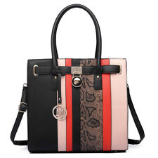 Ladies Designer PU Leather Black Handbag Snakeskin Print Shoulder Tote Bag