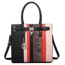 Ladies Designer PU Leather Black Handbag Snakeskin Print Shoulder Tote Bag