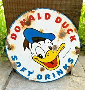 "VINTAGE WALT DISNEY DONALD DUCK 6"" PORCELAIN METAL SIGN SODA POP DRINK CARTOON"