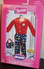 Barbie Fashion Avenue Authentic Jeans Flower Pants Shirt Accessories 1998 Mattel