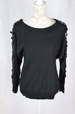 Joseph A Womens Small Black Sequined Long Sleeve Lightweight Sweater Shirt NEW