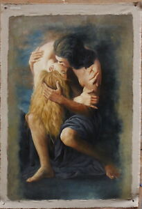 """Fine art Repro oil painting on canvas lover kiss 100% hand-painted 24""""x36"""""""