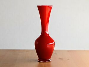 Red Small Cased Glass Vase - Empoli?