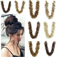 Thick Hair Extension Scrunchie Wrap Messy Bun Updo Curly Ponytail Chignon R Top