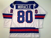 1980 Miracle On Ice USA Hockey White UNSIGNED CUSTOM Jersey Size XL