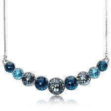 Aquamarine Ocean Bib Statement Pendant Necklace - Made with Swarovski Crystals