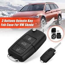 For VW Skoda SEAT 3Button Flip Folding Remote Key Fob Case Shell Blade w/Battery