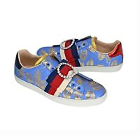 New In Box Gucci Embroiled Crystal Women's Ace Web Sneakers Size US 8 (EU 38)