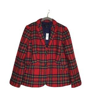 Talbots Red Plaid Shetland Wool Blazer 8P NWT