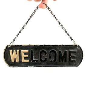 Large Vintage Reclaimed Painted Solid Brass WELCOME Sign - On Brass Hanging Hook
