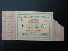 Billet d'entrée JO BERLIN 1936 - Tournoi de POLO / 8 août