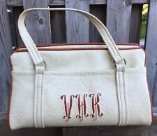 Vintage MCM Handbag Vegan Vinyl Purse Embroidered Bag Monogram