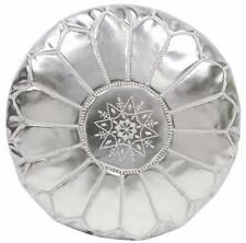 Silver faux Leather Round Ottoman Hand stitched Unstuffed Moroccan Boho Pouf