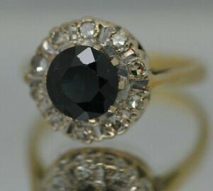 Beautiful 18ct Gold Sapphire & Diamond Engagement Wedding Dress Ring UK N 5.0g