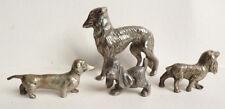 lot de 4 Statue statuette Chien en métal argenté figurine dog
