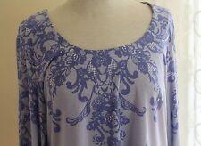 Susan Graver -Sz XL Elegant Lavender Art-to-Wear Graphic Liquid Knit Tunic Top