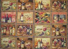 WINE BOTTLES CALIFORNIA 16 Blocks Per Panel* WINERY SOMMELIER on COTTON FABRIC