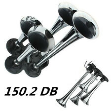 4X 150.2db Truck Train Air Horn Speaker Trumpet Silver Chrome Plated Zinc Alloy