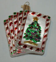 OWC Old World Christmas Royal Flush blown glass Christmas ornament cards