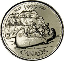 1999 May CANADA 25 Cent  Millennium Series BU Coin From Mint Roll UNC