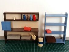 1/18 scale garage diorama accessories: wall cabinet, oil drum, cans, tool box