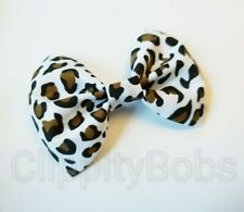 "LARGE HANDMADE 4"" WHITE BROWN LEOPARD ANIMAL PRINT FABRIC BOW HAIR CLIP / BOBBLE"