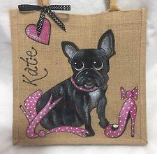 Personalizados Pintados A Mano Bulldog Francés Y Rojo Zapatos De Yute Bolso Bolso De Mano De Regalo