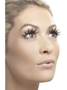 False Eyelashes With Silver Glitter Ladies Glamour Fancy Dress Accessory