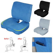 Memory Foam Seat Cushion Lumbar Back Support Set Orthopedic Coccyx Pain Relief