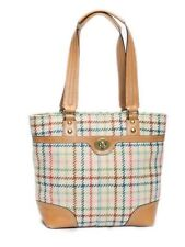 Coach Tan Hampton Plaid Tatterall Wool Leather Tote Carryall Bag 13985 $328