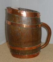 Vintage Coopered Oak Wooden Barrel Jug, Copper Handle & Bands