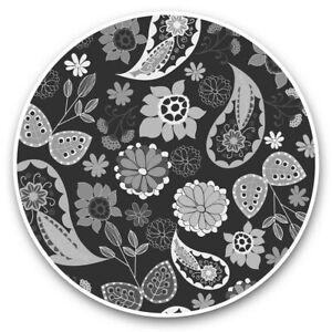 2 x Vinyl Stickers 20cm (bw) - Floral Paisley Pattern Fun  #38374