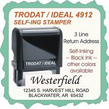 Return Address, 3 Line, Trodat/Ideal-Self Inking-Rubber Stamp, Custom Made