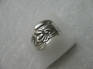 1872 TIFFANY Sterling Silver spoon RING s 7 3/4 - 8 VINE / IRIS Jewelry RARE