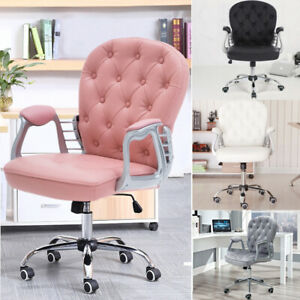 Velvet/ Leather Office Chair Home Swivel Computer Desk Working Chair Adjustable