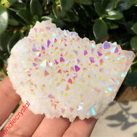1pc Titanium rainbow cluster quartz crystal mineral Specimen Point gem 200g+