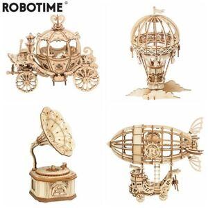 Robotime New Arrival DIY 3D Gramophone Box,Pumpkin Cart Wooden Puzzle Game Toys