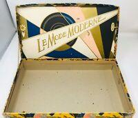 """Vintage Le Mode Moderne Lingerie French Design Cardboard Box 14""""x8.25""""2.5"""""""