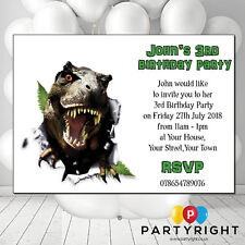 Personalised Dinosaur Boys TRex Kids Party Birthday Invites Pack Of 12