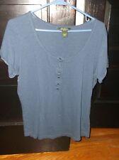 2 Women's Large Eddie Bauer Navy Blue Pintuck T-Shirt & IZOD Paisley Green Top