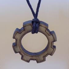 Wooden Gear Wheel Cogwheel Pendant & Black Cord Handmade Necklace
