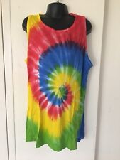 Kids Tie-Dyed Unisex Singlet Rainbow Green/Yell/Blue 8-10yrs Great for Christmas