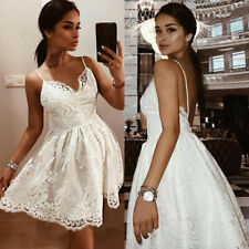 Women Lace Skater Swing Dress Formal Bridesmaid Sleeveless Party Prom Mini Dress