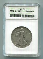 1938-D 50C VF-30 ANACS Walking Liberty Silver Half Dollar -