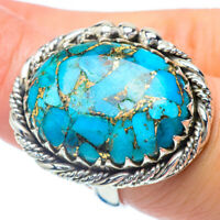 Large Blue Copper Turquoise 925 Sterling Silver Ring Size 7.5 Jewelry R35269F