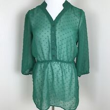 Mossimo Jaquered Polka Dot Top Size XS Green 3/4 Sleeve Peasant  Blouse B18